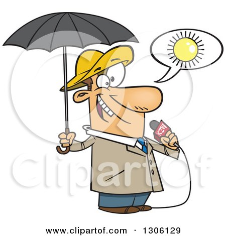 Clipart of a Cartoon White Weather Man Lying About Sunny Weather but Ready for Rain - Royalty Free Vector Illustration by toonaday