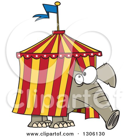 Clipart of a Cartoon Circus Elephant Stuck in a Big Top Tent - Royalty Free Vector Illustration by toonaday