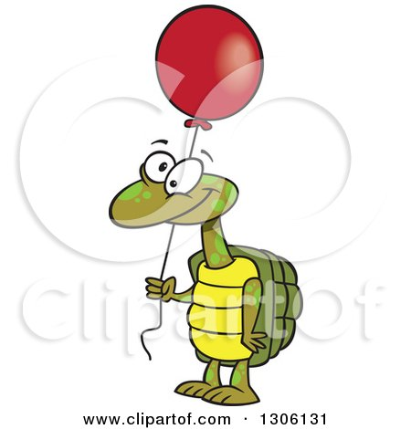 Clipart of a Cartoon Happy Tortoise Turtle Holding a Red Party Balloon - Royalty Free Vector Illustration by toonaday