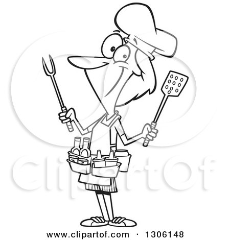 Lineart Clipart of a Cartoon Black and White Barbeque Queen Woman with Utensils and Condiments - Royalty Free Outline Vector Illustration by toonaday