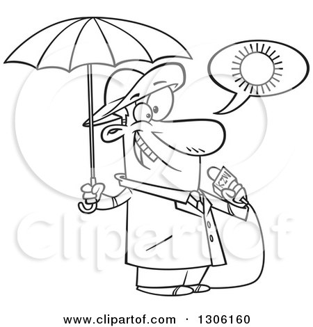 Lineart Clipart of a Cartoon Black and White Weather Man Lying About Sunny Weather but Ready for Rain - Royalty Free Outline Vector Illustration by toonaday