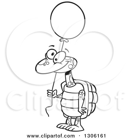 Lineart Clipart of a Cartoon Black and White Happy Tortoise Turtle Holding a Party Balloon - Royalty Free Outline Vector Illustration by toonaday