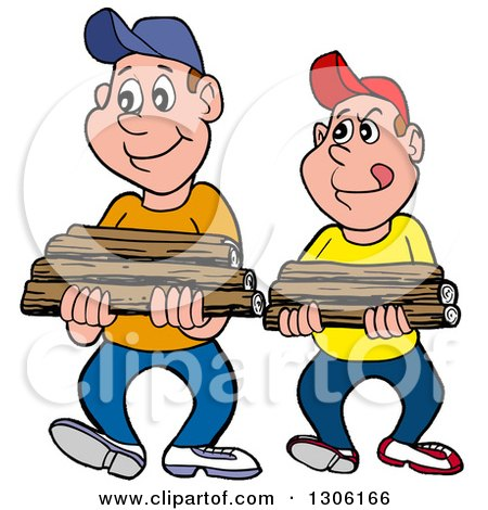 Clipart of Cartoon Caucasian Boys or Men Carrying Firewood - Royalty Free Vector Illustration by LaffToon