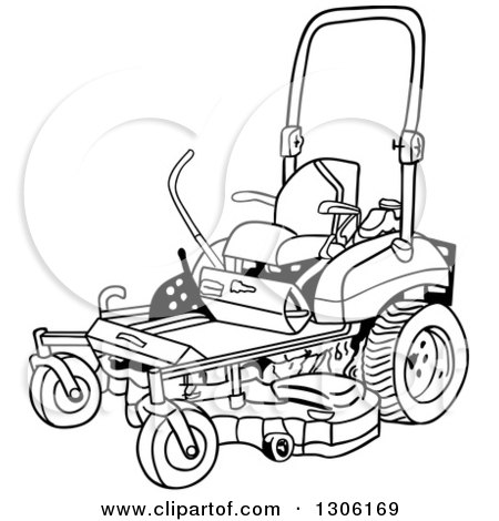 Clipart of a Cartoon Black and White Ride on Lawn Mower - Royalty Free Vector Illustration by LaffToon