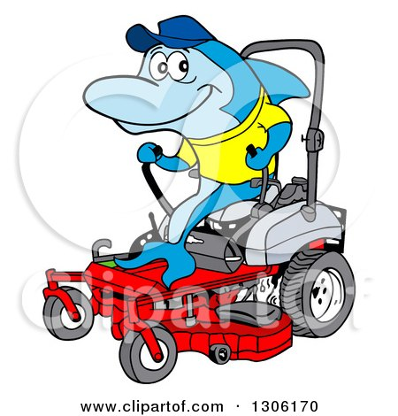 Clipart of a Cartoon Blue Shark Operating a Red Riding Lawn Mower - Royalty Free Vector Illustration by LaffToon