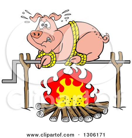 Clipart Of A Cartoon Scared Pig On A Spit Over A Fire Royalty Free Vector Illustration