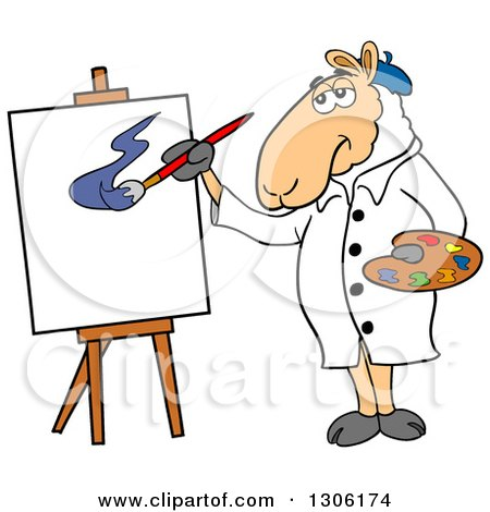 Clipart of a Cartoon Artist Sheep Painting a Canvas - Royalty Free ...