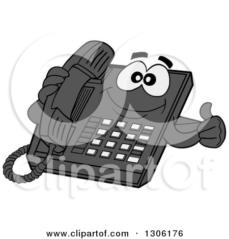 Clipart of a Cartoon Happy Desktop Telephone Character Giving a Thumb up - Royalty Free Vector Illustration by LaffToon
