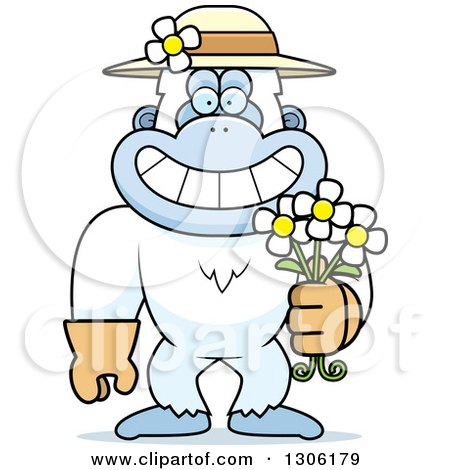 Clipart of a Cartoon Happy Grinning Yeti Abominable Snowman Monkey Wearing Gardening Gloves, a Hat and Holding Spring Daisy Flowers - Royalty Free Vector Illustration by Cory Thoman