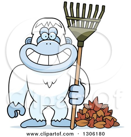 Clipart of a Cartoon Happy Grinning Yeti Abominable Snowman Monkey with a Rake and Autumn Leaves - Royalty Free Vector Illustration by Cory Thoman