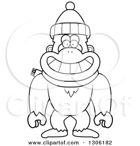 Lineart Clipart of a Cartoon Black and White Happy Yeti Abominable Snowman Monkey Wearing a Winter Hat and Scarf - Royalty Free Outline Vector Illustration by Cory Thoman