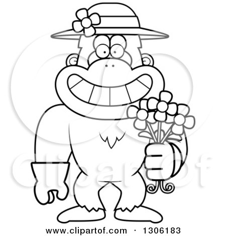 Lineart Clipart of a Cartoon Black and White Happy Grinning Yeti Abominable Snowman Monkey Wearing Gardening Gloves, a Hat and Holding Spring Daisy Flowers - Royalty Free Outline Vector Illustration by Cory Thoman