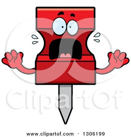 Clipart of a Cartoon Scared Red Push Pin Character Screaming - Royalty Free Vector Illustration by Cory Thoman