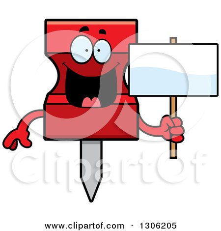 Clipart of a Cartoon Happy Red Push Pin Character Holding a Blank Sign - Royalty Free Vector Illustration by Cory Thoman