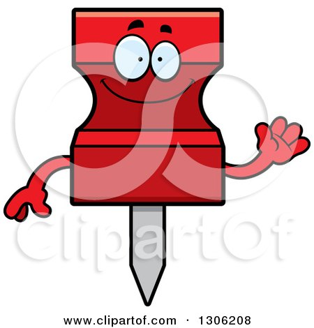 Clipart of a Cartoon Happy Friendly Red Push Pin Character Waving - Royalty Free Vector Illustration by Cory Thoman