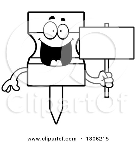 Lineart Clipart of a Cartoon Black and White Happy Push Pin Character Holding a Blank Sign - Royalty Free Outline Vector Illustration by Cory Thoman