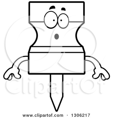 Lineart Clipart of a Cartoon Black and White Surprised Push Pin Character Gasping - Royalty Free Outline Vector Illustration by Cory Thoman