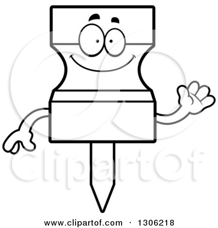 Lineart Clipart of a Cartoon Black and White Happy Friendly Push Pin Character Waving - Royalty Free Outline Vector Illustration by Cory Thoman