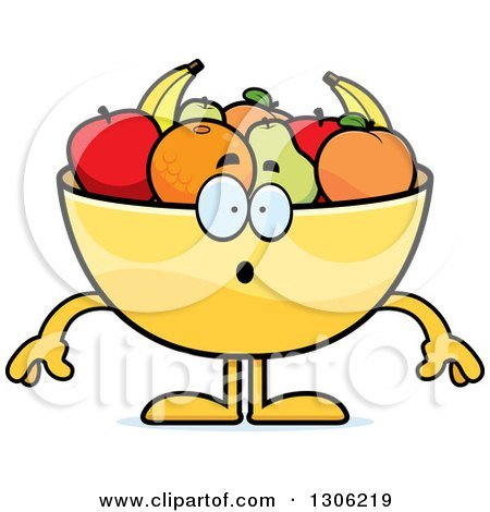 Clipart of a Cartoon Surprised Fruit Bowl Character Gasping - Royalty Free Vector Illustration by Cory Thoman