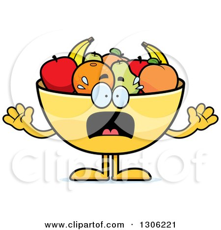 Clipart of a Cartoon Scared Fruit Bowl Character Screaming - Royalty Free Vector Illustration by Cory Thoman