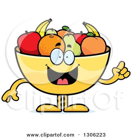 Clipart of a Cartoon Smart Fruit Bowl Character with an Idea - Royalty Free Vector Illustration by Cory Thoman