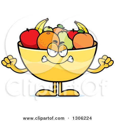 Clipart of a Cartoon Mad Fruit Bowl Character Holding up Fists - Royalty Free Vector Illustration by Cory Thoman