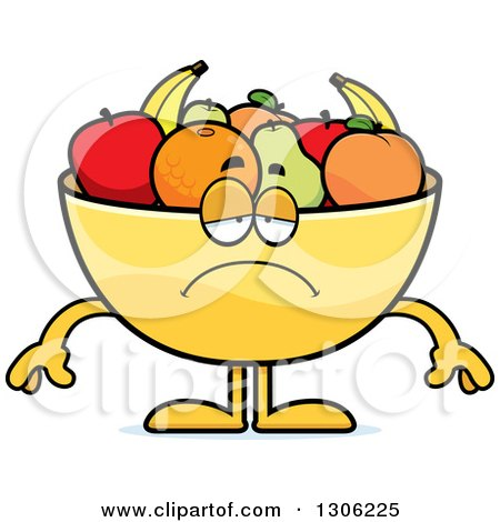 Clipart of a Cartoon Sad Depressed Fruit Bowl Character Pouting - Royalty Free Vector Illustration by Cory Thoman