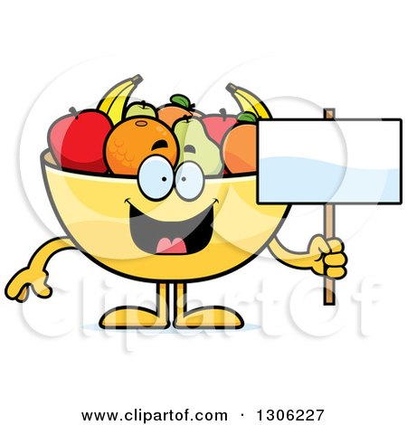 Clipart of a Cartoon Happy Fruit Bowl Character Holding a Blank Sign - Royalty Free Vector Illustration by Cory Thoman