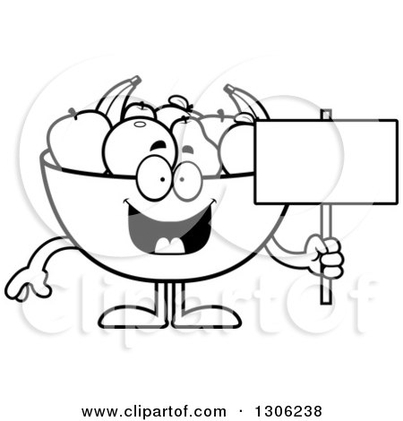Lineart Clipart of a Cartoon Black and White Happy Fruit Bowl Character Holding a Blank Sign - Royalty Free Outline Vector Illustration by Cory Thoman