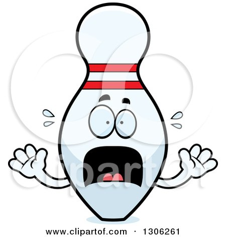 Clipart of a Cartoon Scared Bowling Pin Character ...