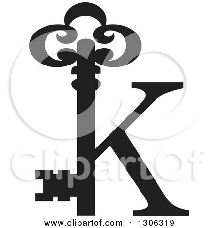 Clipart of a Black and Chrome Icon with a Gold Skeleton Key ...