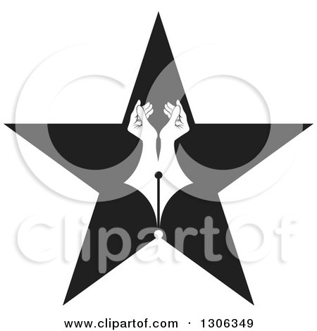 Clipart of a Pair of White Hands Forming a Pen Nib in a Black Star - Royalty Free Vector Illustration by Lal Perera