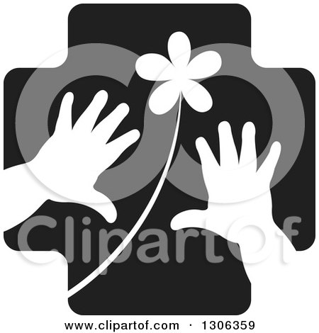 Clipart of a Black Cross with a White Flower and Child Hands - Royalty Free Vector Illustration by Lal Perera