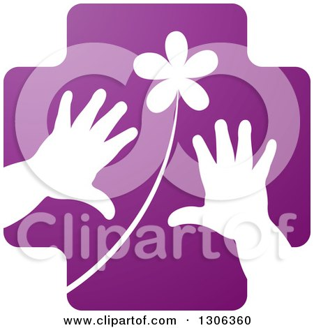Clipart of a Purple Cross with a White Flower and Child Hands - Royalty Free Vector Illustration by Lal Perera