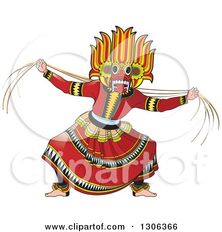 Clipart of a Traditional Sinhala Devil Dancer in a Horned Mask 2 - Royalty Free Vector Illustration by Lal Perera