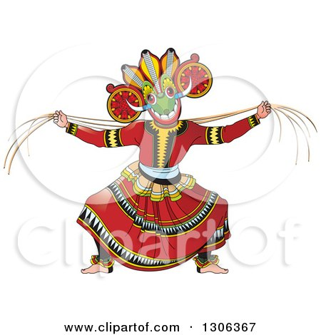 Clipart of a Traditional Sinhala Devil Dancer in a Horned Mask 3 - Royalty Free Vector Illustration by Lal Perera