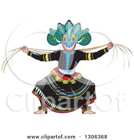 Clipart of a Traditional Sinhala Devil Dancer in a Horned Mask 4 - Royalty Free Vector Illustration by Lal Perera
