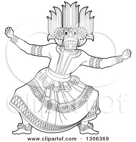 Clipart of a Black and White Traditional Sinhala Devil Dancer in a Horned Mask - Royalty Free Vector Illustration by Lal Perera