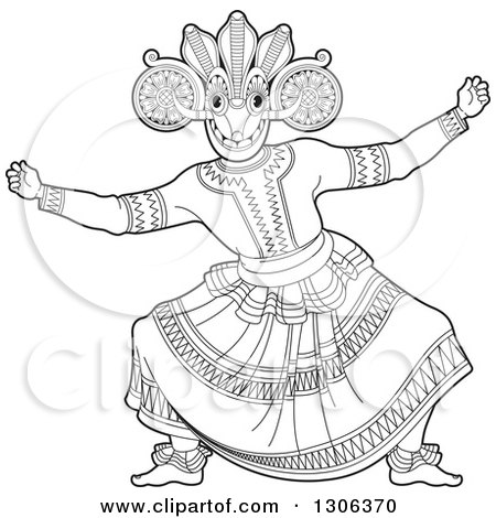 Clipart of a Black and White Traditional Sinhala Devil Dancer in a Horned Mask 2 - Royalty Free Vector Illustration by Lal Perera