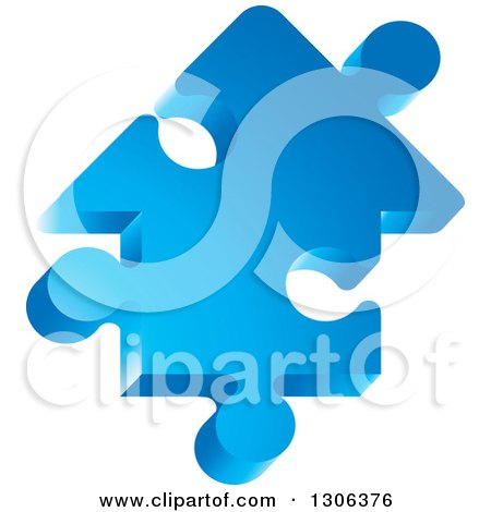 Clipart of a 3d Blue House Shaped Jigsaw Puzzle Piece - Royalty Free Vector Illustration by Lal Perera