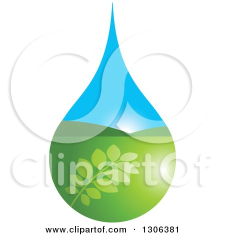 Clipart of a Leafy Branch and Valley Sunrise Water Drop - Royalty Free Vector Illustration by Lal Perera