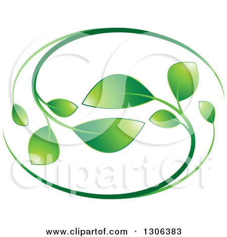 Clipart of a Graident Green Vine Oval - Royalty Free Vector Illustration by Lal Perera