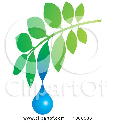 Clipart of a Gradient Green Branch with a Water Drop - Royalty Free Vector Illustration by Lal Perera