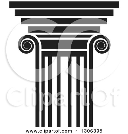 Clipart of a Black and White Pillar Design - Royalty Free Vector Illustration by Lal Perera