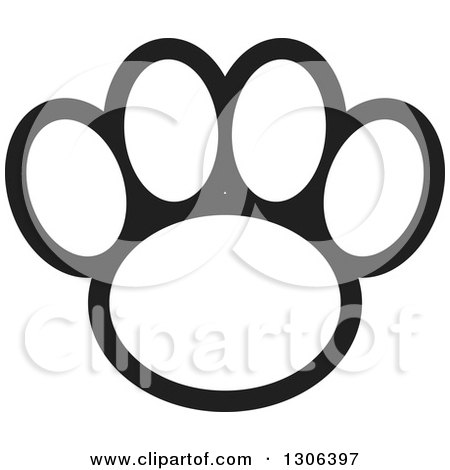Clipart of a Black and White Dog Paw Print - Royalty Free Vector Illustration by Lal Perera