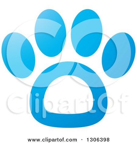 Clipart of a Gradient Blue and White Dog Paw Print - Royalty Free Vector Illustration by Lal Perera
