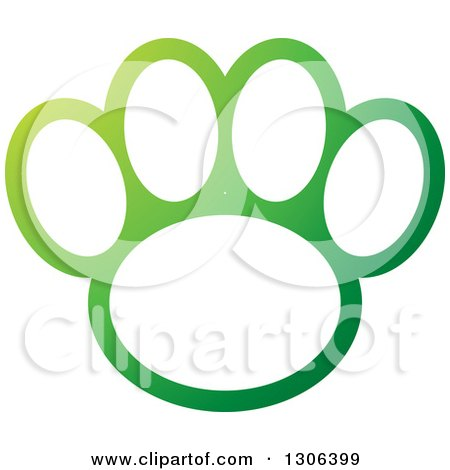 Clipart of a Gradient Green and White Dog Paw Print - Royalty Free Vector Illustration by Lal Perera