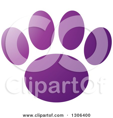 Clipart of a Gradient Purple Dog Paw Print - Royalty Free Vector Illustration by Lal Perera