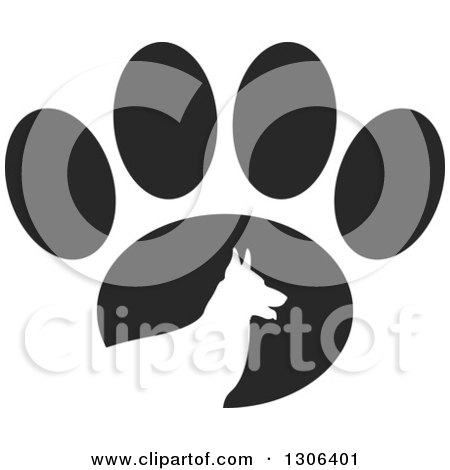 Clipart of a White Silhouetted German Shepherd Dog in Profile over a Black Paw Print - Royalty Free Vector Illustration by Lal Perera