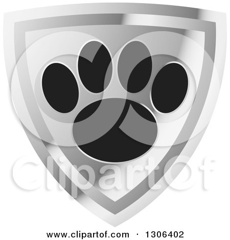 Clipart of a Black Dog Paw Print on a Shiny Silver Shield - Royalty Free Vector Illustration by Lal Perera